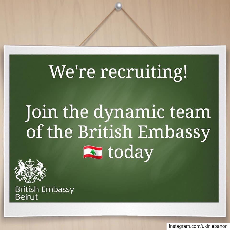 we are hiring  comeworkwithus The British Embassy in Beirut is seeking...